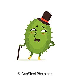 Cute cactus gentleman, funny plant character in a black top hat with walking cane cartoon vector Illustration