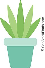 agave - Cute cactus in blue plant pot vector illustration. ...