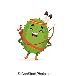 Cute cactus native American Indian, funny plant character in headdress of feathers with a bow and arrow cartoon vector Illustration
