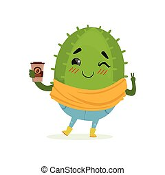 Cute cactus with cup of coffee in its hand, funny plant character cartoon vector Illustration