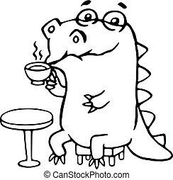 cute, café, dinossauro