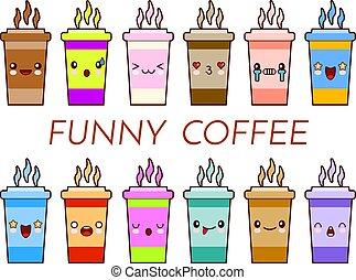 cute, café, emoticons., copo, chá, set., estilo, apartamento, rosto, engraçado, assalte, vetorial, ilustração, logotipo, adesivos, caricatura