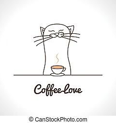 cute, café, illustration., cup., gato, cheirar, vetorial,...