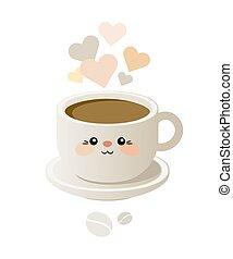 cute, café, kavai, copo, ilustração, vector., style.