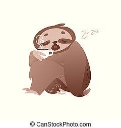 cute, café, segunda-feira, copo, concept., sonolento, cima, despertar, quentes, preguiça, manhã, ou
