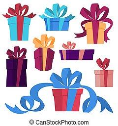 cute, caixas, jogo, presente, ribbon.
