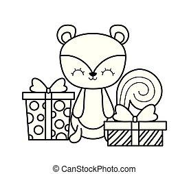 cute, caixas, presente, chipmunk
