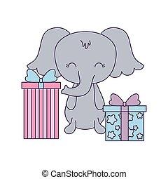 cute, caixas, presente, elefante