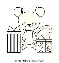 cute, caixas, rato, presente