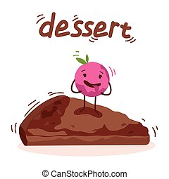 cute cake, ice cream with faces vector