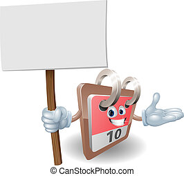 Cute calendar character with sign