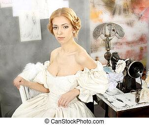 Cute calm girl in a vintage dress