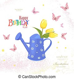 cute can watering with bouquet of tulips and flying butterflies