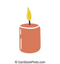 Cute candle isolated on a white background. doodle