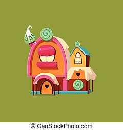 Cute Candy House. Vector Illustartion
