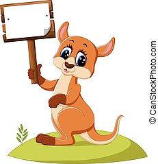 cute, canguru, caricatura
