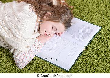 cute, cansadas, estudar, após, dormir, retrato, schoolgirl, lar