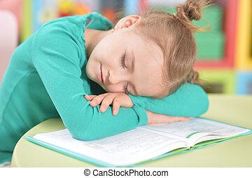 cute, cansadas, estudar, após, dormir, schoolgirl, retrato