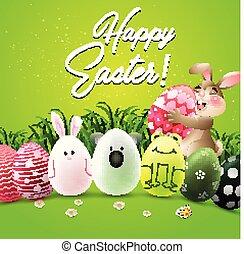 cute, caráteres, ovos, saudação, coelho, páscoa, cartão, feliz