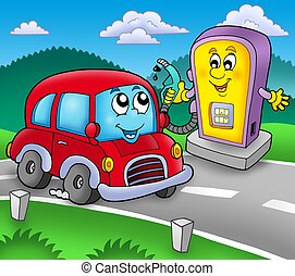 Cute car at gas station - color illustration.