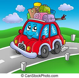 Cute car with baggage on road - color illustration.