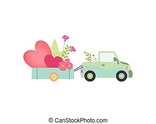 Cute Car with Cart Full of Flowers and Hearts Vector Illustration