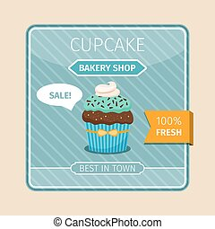 Cute card blue cupcake with chocolate
