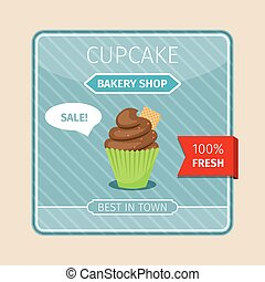 Cute card brown cupcake with gaufre