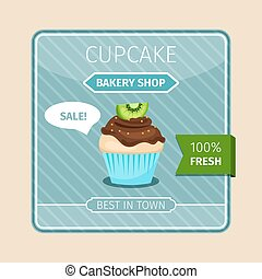 Cute card brown cupcake with kiwi