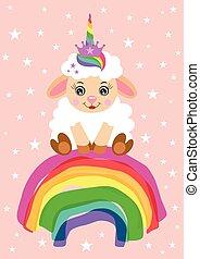 cute, card, enhjørning, lam, regnbue, siddende, hils