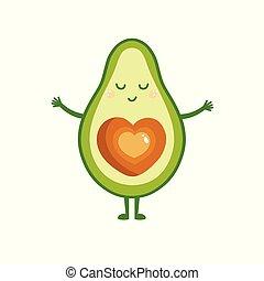 cute, card., love., abacate, saudação, ilustração, abraços, vetorial, querer, caricatura