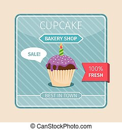 Cute card purple cupcake with candle