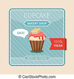 Cute card red cupcake with wafer