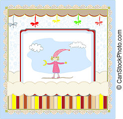 Cute card with a little girl vector