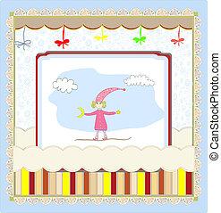 Cute card with a little girl vector