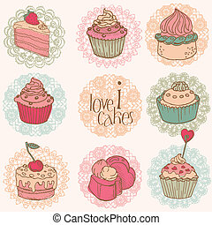 Cute Card with Cakes and Desserts - for your design and ...