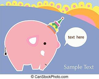 cute card with cute elephant. vector illustration