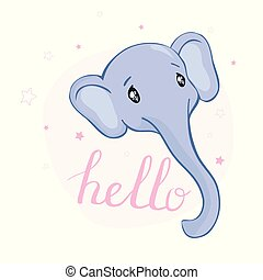 Cute card with elephant baby