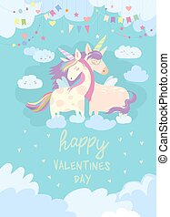 Cute card with fairy unicorns in love