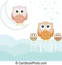cute card with family owls on sky