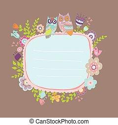 cute card with funny owl cartoon fl