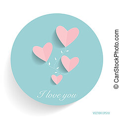 Cute card with hearts. Vector illustration.