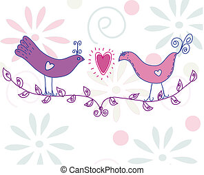 Cute card with pair of birds on the branch