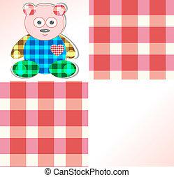 Cute card with pink teddy bear for girl