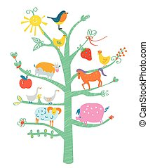 Cute card with tree and animals for kids - funny design
