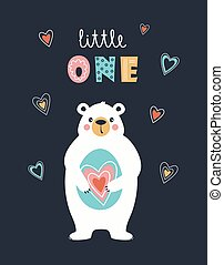 cute card with white bear isolated, vector illustration