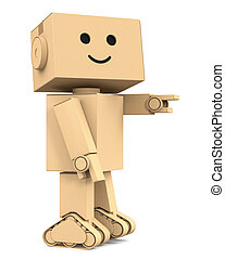 Cute cardboard robot point finger