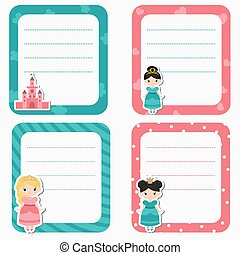 Cute cards with princess theme design