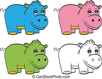 cute, caricatura, bebê, hipopótamo