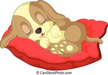 cute, caricatura, cão, dormir